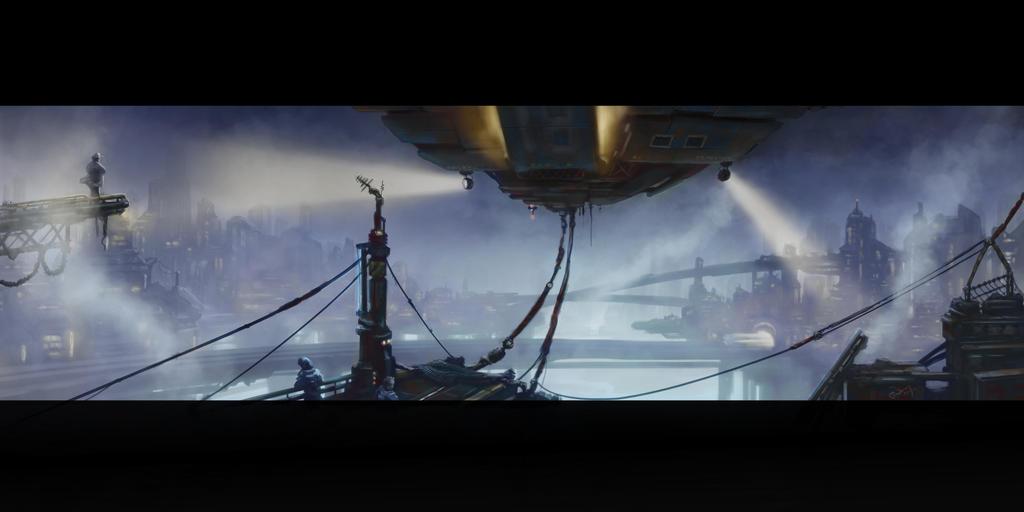 Sci-Fi Airship Dock by Albek42