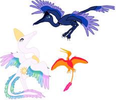 My Little Maniraptor: Princesses Celestia and Luna by Albertonykus