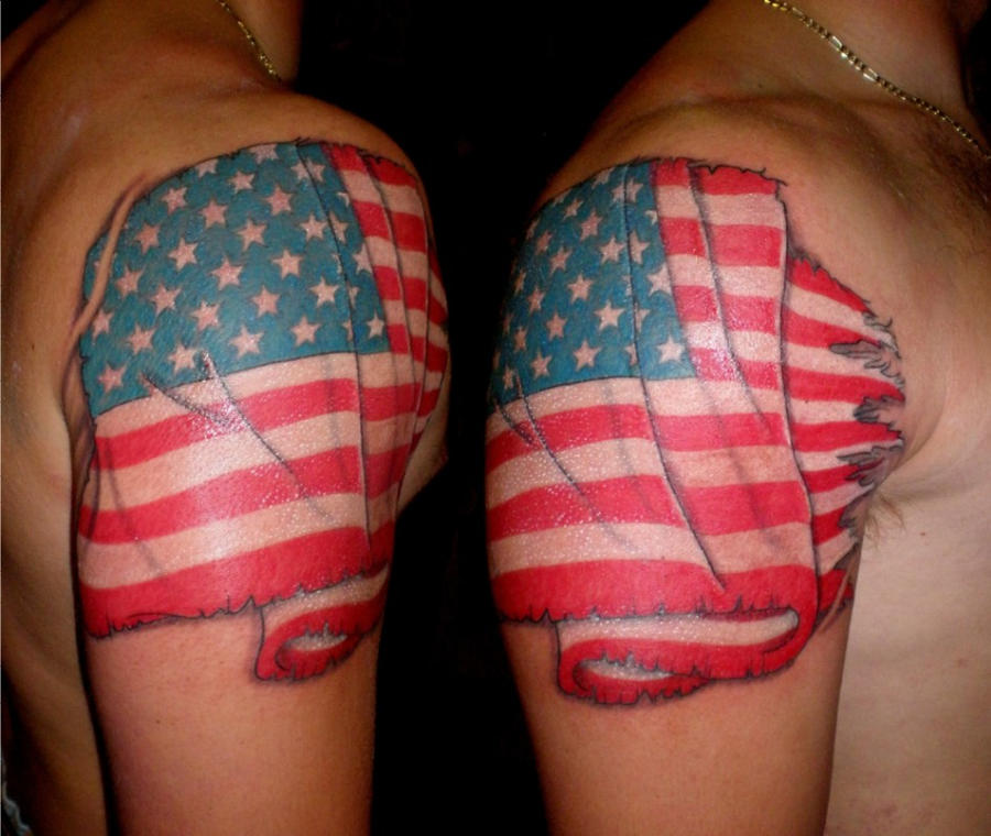 American Flag - shoulder tattoo