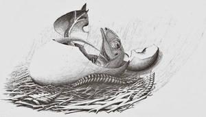 Allosaurus jimmadseni hatching by WaylonRowley