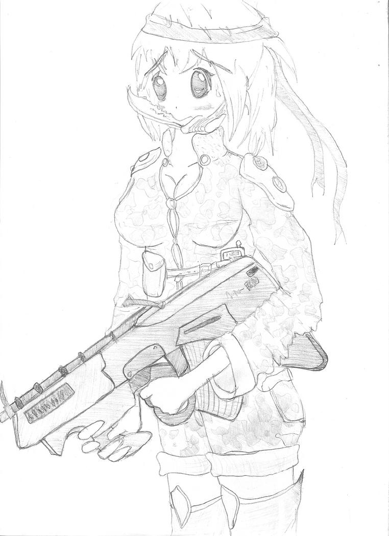 Animu girl with FAD gun by Hirotaka666