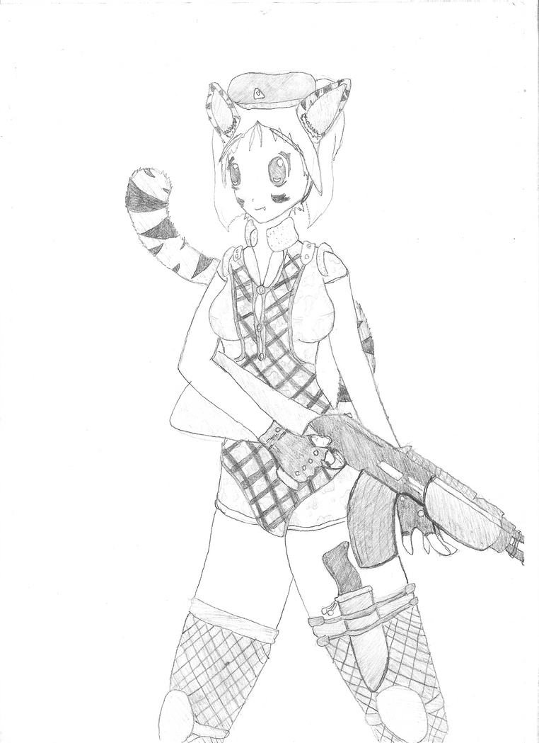 Cat girl with AK-47 by Hirotaka666