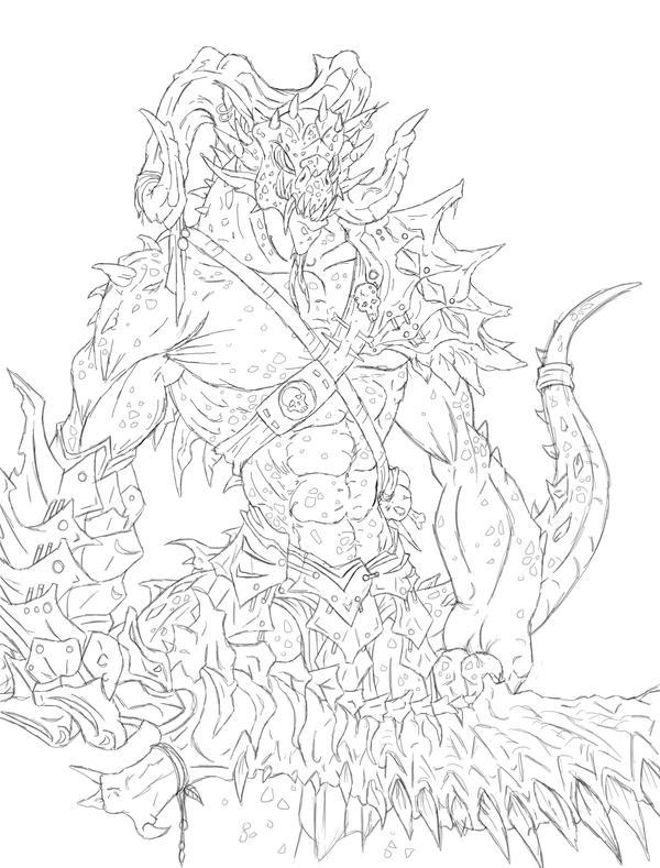Line Art Jungle : Jungle demon collab lineart by kiartia on deviantart