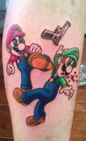 Mario vs Luigi tattoo by Kiartia