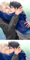 Yuri!!!On Ice - Hug by Marimari999