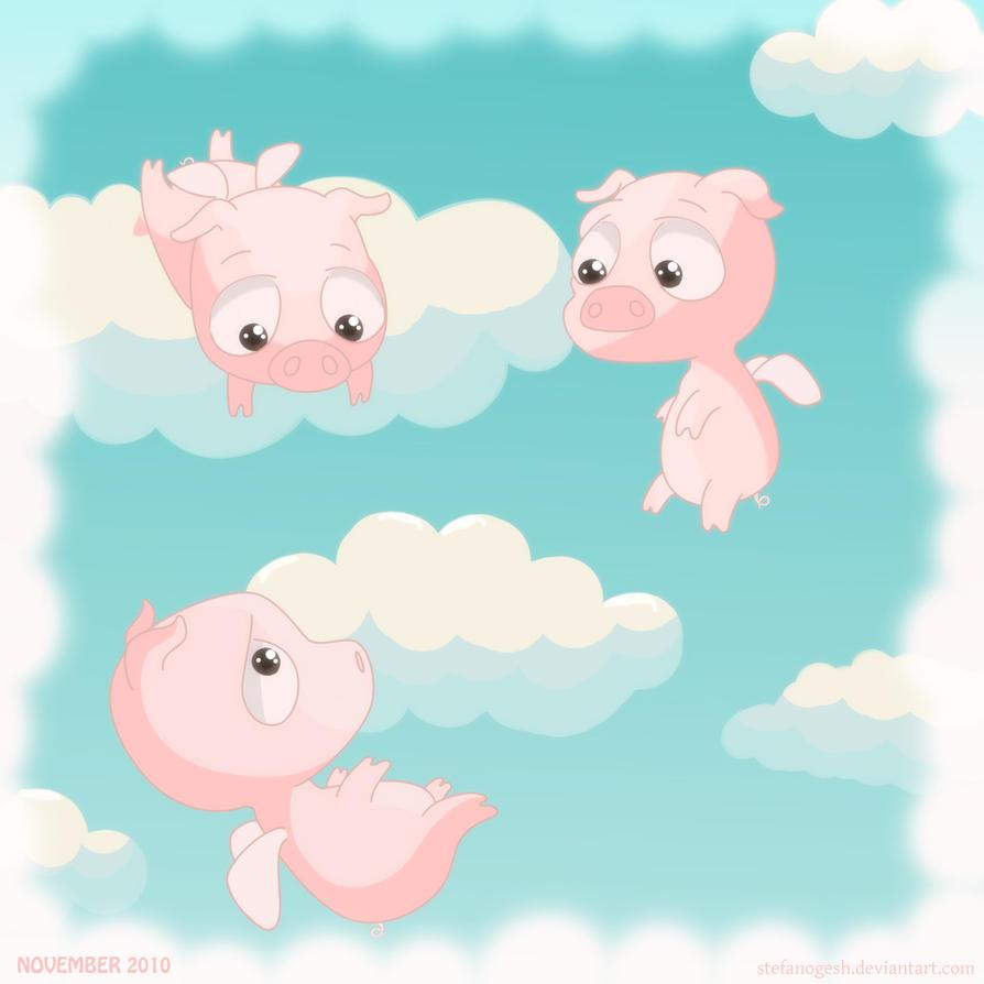 Cute pigs cartoon wallpaper