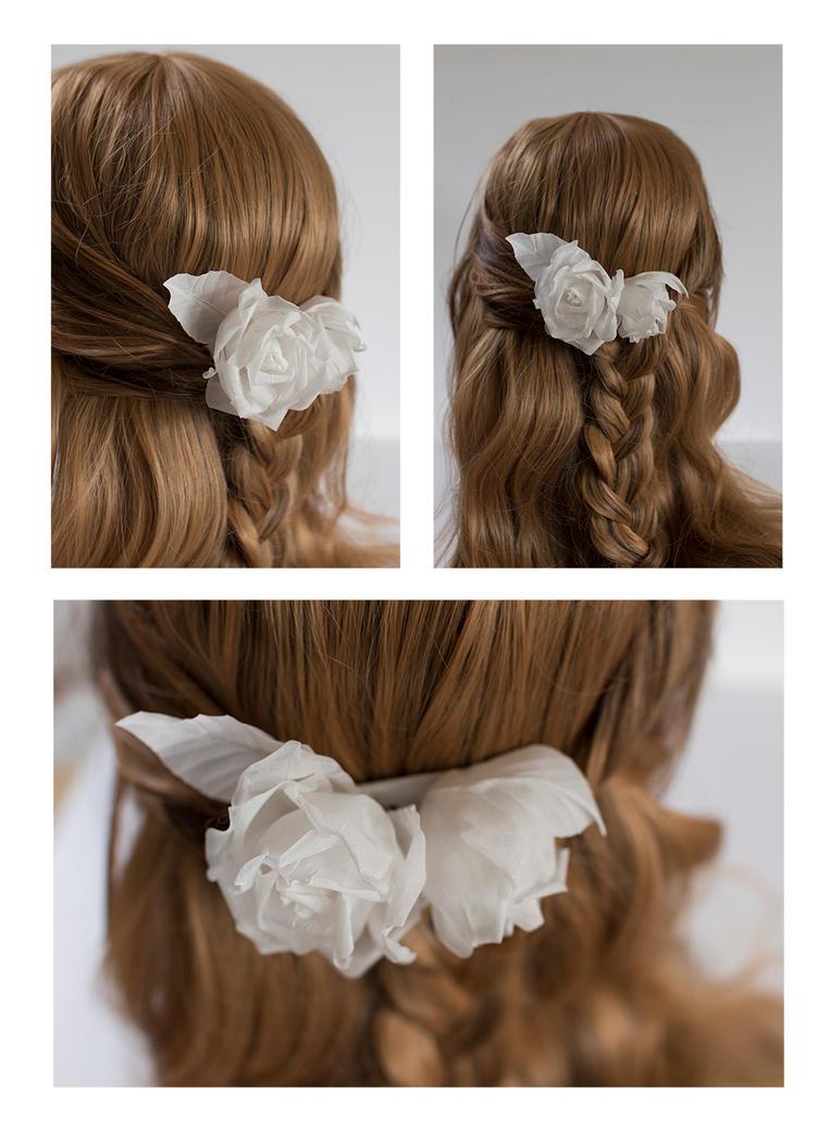 White rose hairpin 12 by TaliaKart