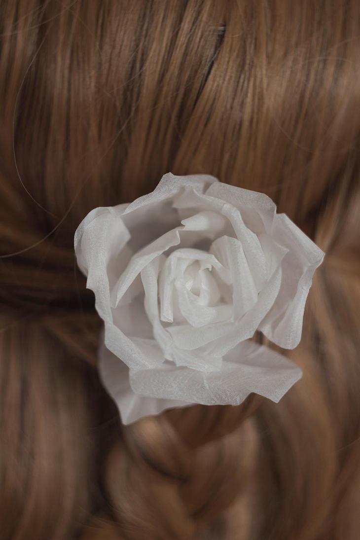 Single white rose hairpin 14 by TaliaKart