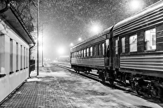 Blizzard in train station