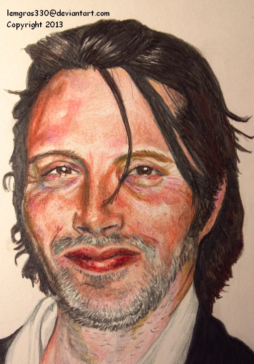 Mads Mikkelsen 1   Hannibal    Colored Pencil by lemgras330