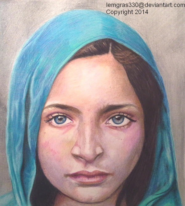 Afghan Girl  ~ 1 Colored Pencils by lemgras330