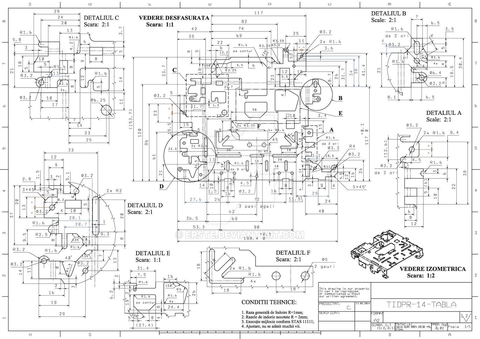 Engineering Drawing For A Complex Sheet Metal Part By
