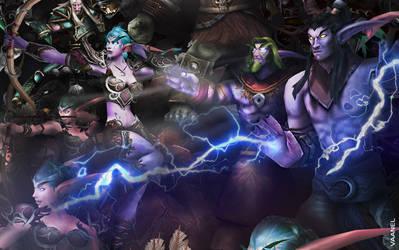 WotA Poster Zoom: Tyrande, Malfurion and Illidan by Vaanel