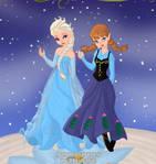 Elsa and Anna on the Pixie scene-maker
