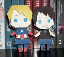 Steve Rogers and Tony Stark Papercraft by chujo-hime