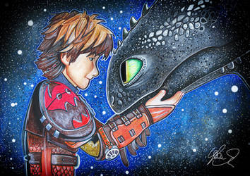 Hiccup and Toothless by LukeFielding