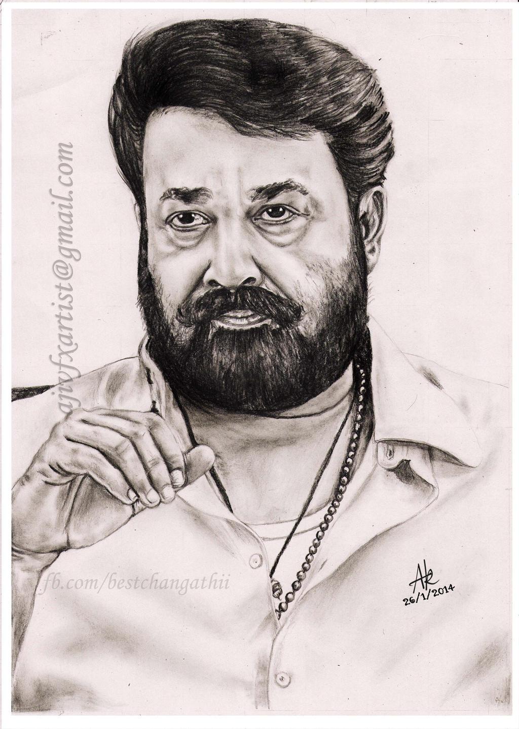 Mohanlal Pencil Drawings By Artist Aji by Ajikumar on ...