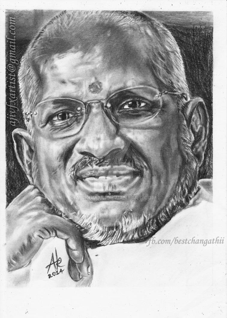 Ilayaraja Pencil Drawings By Artist Aji Ajikumar On