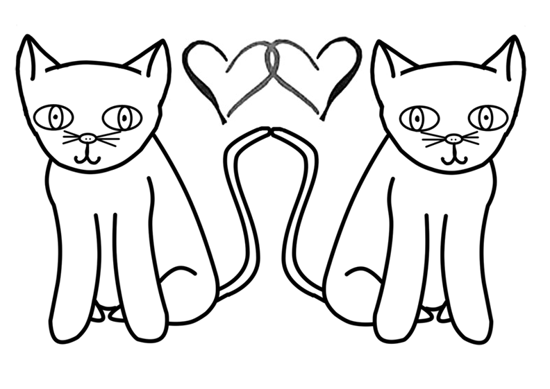coloring page two cats by dj koko - Love Coloring Pages 2