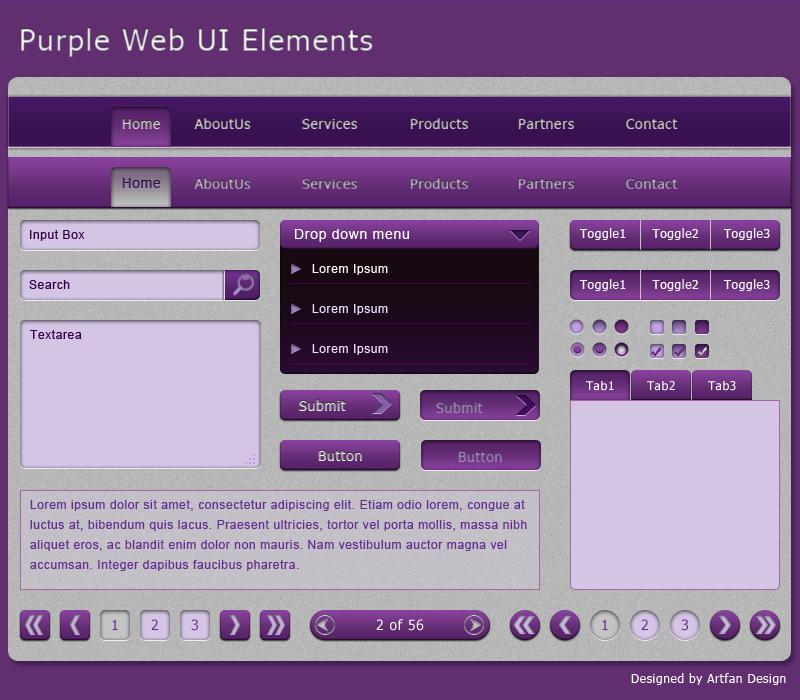 Purple Web UI Elements by Artfans