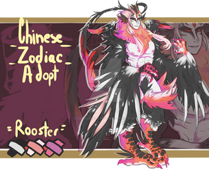 (SOLD) AUCTION Chinese Zodiac Adopt -Rooster by LisaBlack89-Adopt
