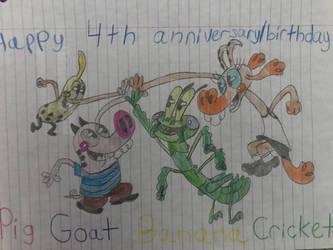 Happy 4th anniversary, Pig Goat Banana Cricket  by cianablue