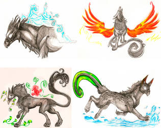 elemental gryphons by Husgryph
