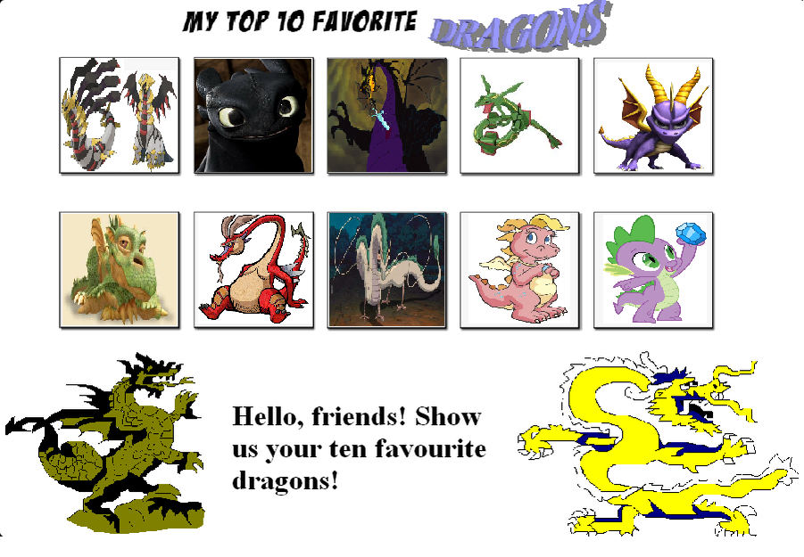 My top 10 favorite Dragons meme by BlazeHeartPanther