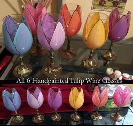Tulip Handpainted Glasses - Wine