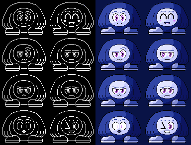 Danchun's Emotions - Monochrome and Cobalt version by RichRadEx