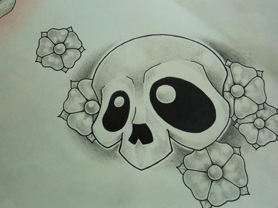 cherry new school skull by T-K-Ink on DeviantArt