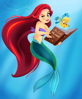 Ariel and Flounder - Story Time by artistsncoffeeshops