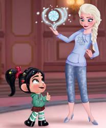 Vanellope and Elsa - Disney Royalty by artistsncoffeeshops