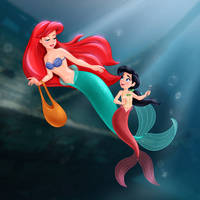 Ariel and Melody - Hidden Treasure by artistsncoffeeshops