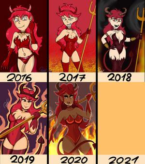 Fler Devil costume art evolution 2016-2020