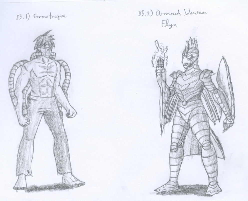 Figures 85 - Growtesque and Armored Warrior Flyn by TheHiddenElephant