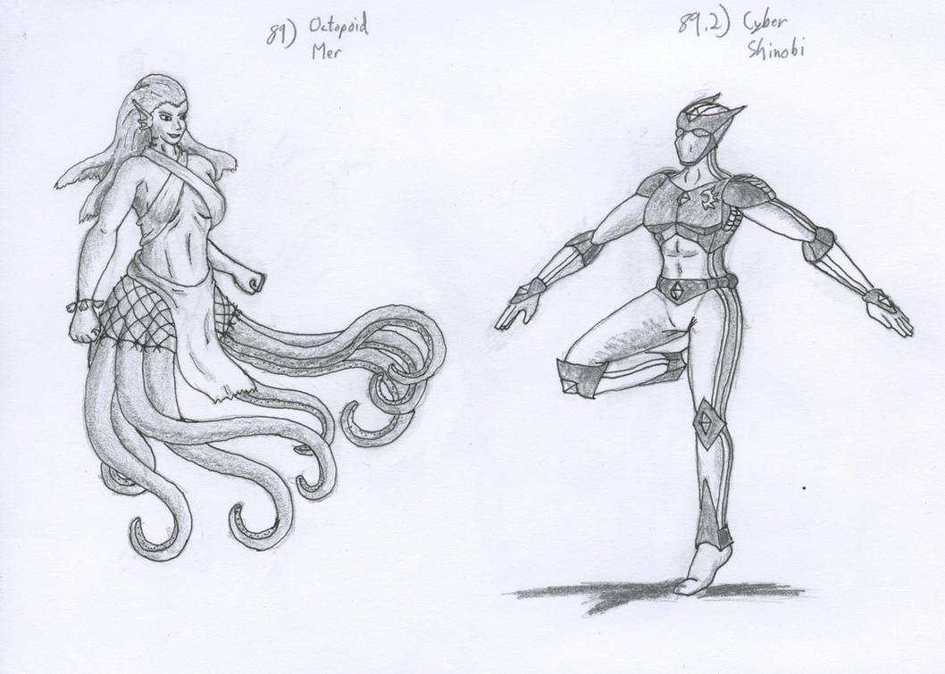 Figure 89 - Octopoid Mer and Cyber Shinobi by TheHiddenElephant