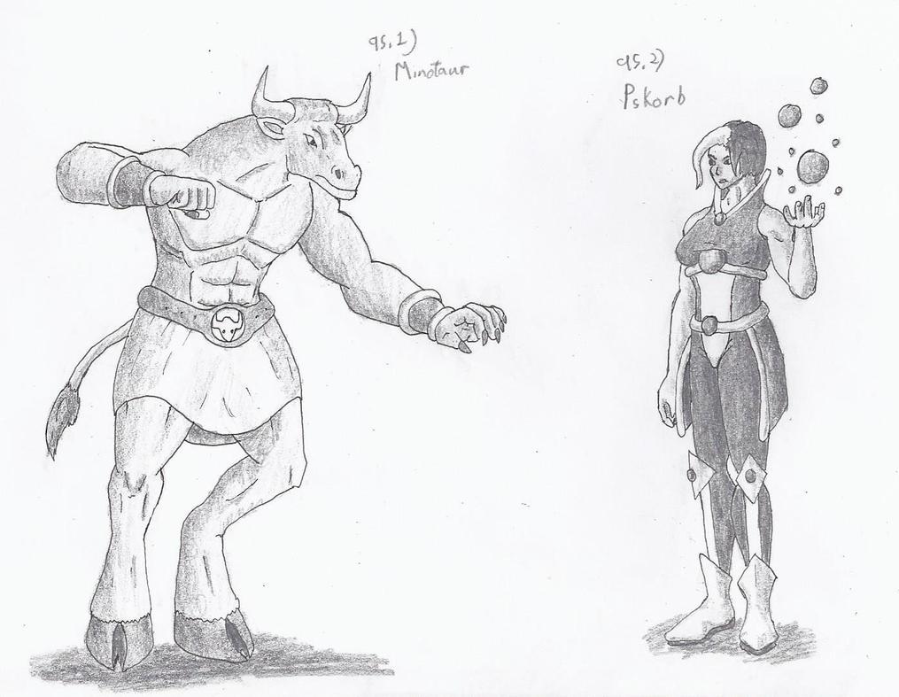 Figure 95 - Minotaur and Psykorb by TheHiddenElephant