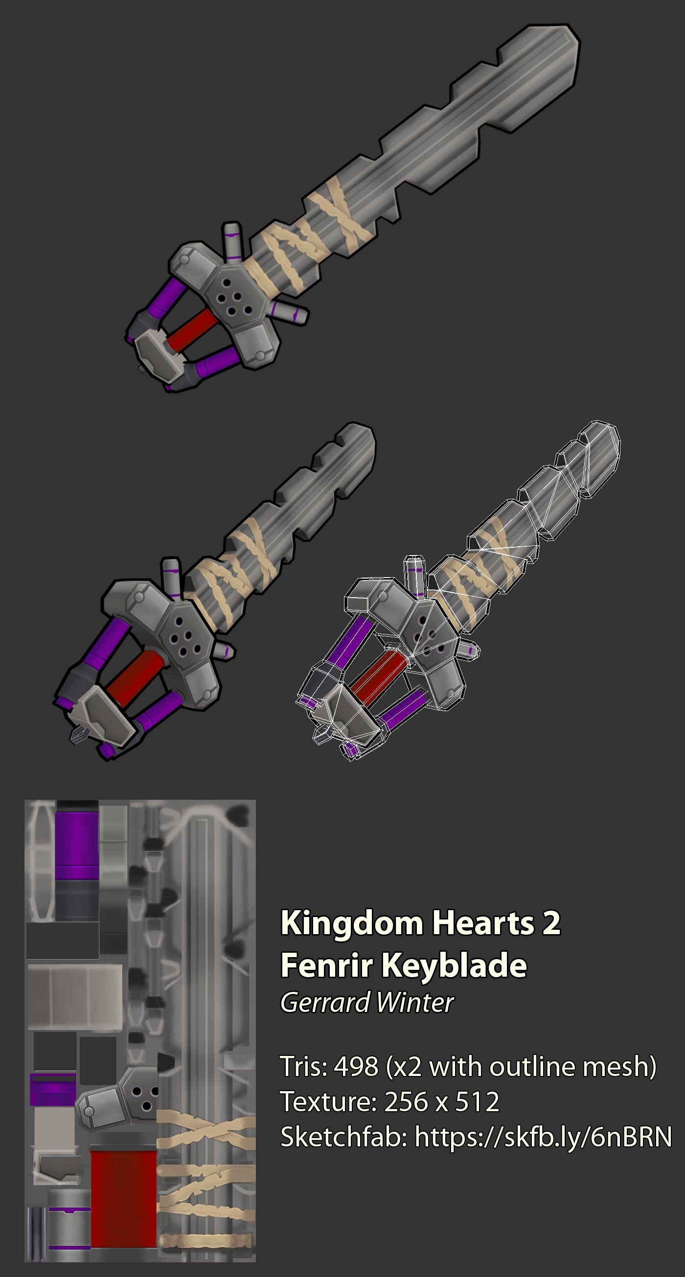 Low-poly Fenrir Keyblade - Kingdom Hearts 2 by ...