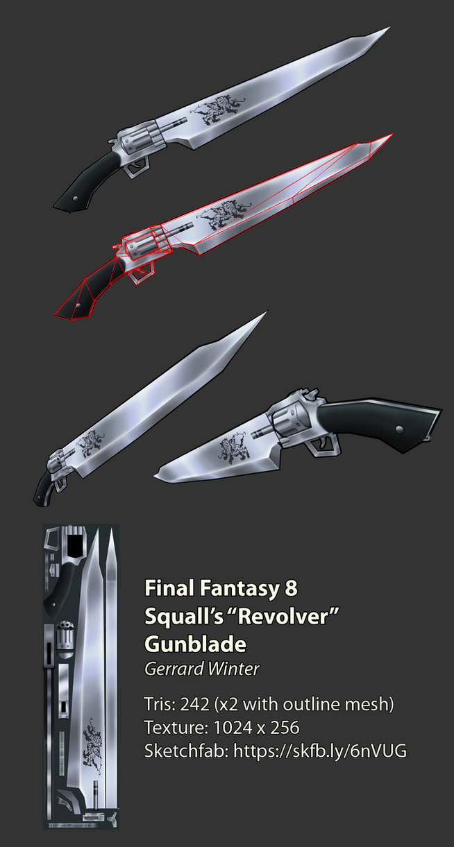 Squall's Revolver Gunblade  [Low-Poly]  [FF8] by GuildencrantzGW