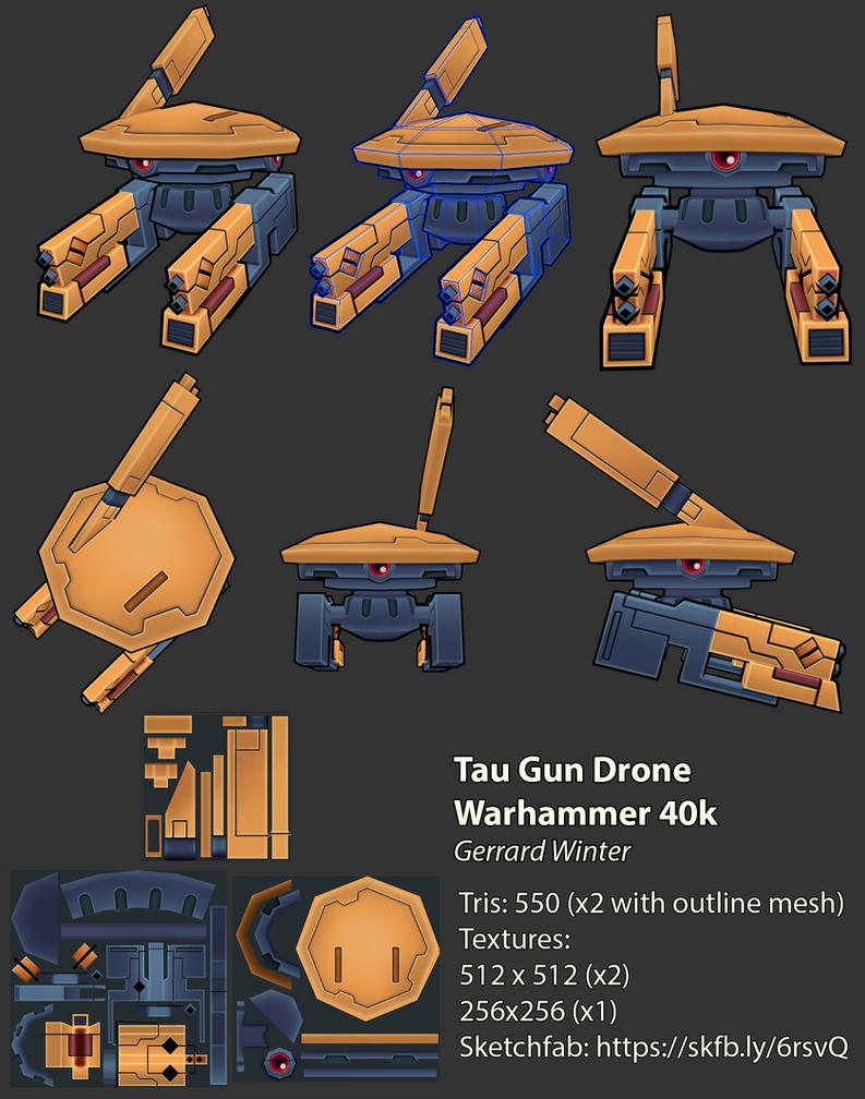 Tau Gun Drone - Low Poly - Warhammer 40k by GuildencrantzGW