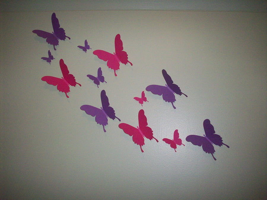 paper butterfly wall decor by chelsiann13 on deviantart