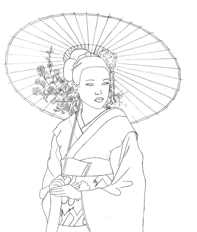 Geisha lineart by Sneakysnafu on DeviantArt Pencil Drawing Pictures Of Flowers