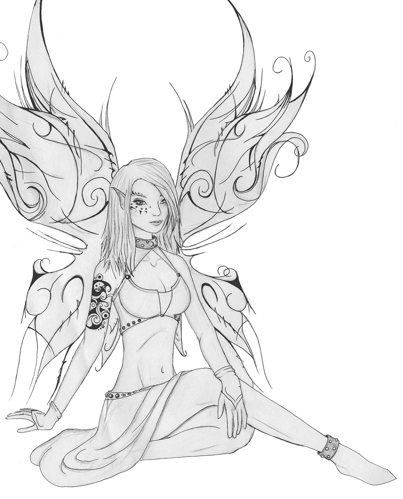 goth coloring pages - goth punk fairy black white by sneakysnafu on deviantart