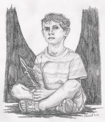 Boy sitting with a feather by SchoolSpirit