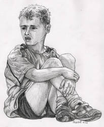 Boy Sitting With Crossed Legs by SchoolSpirit