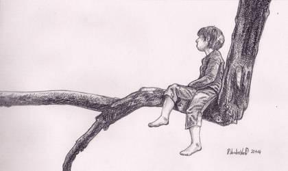 Boy-Sitting-On-Branch