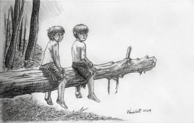 Boys Sitting On A Log by SchoolSpirit