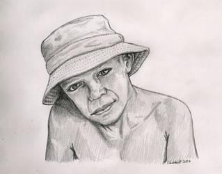 Boy wearing bucket hat by SchoolSpirit