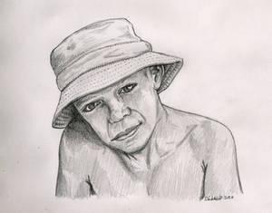 Boy wearing bucket hat